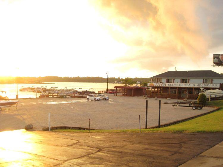 Yellow sunset against marina docks