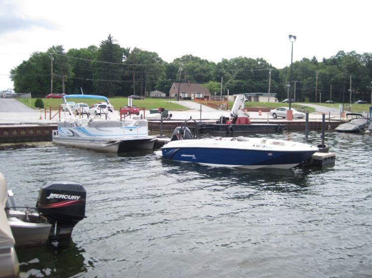 Rental boats docked at marina
