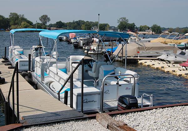 Pontoon boats ready to load at Pine Lake Marina