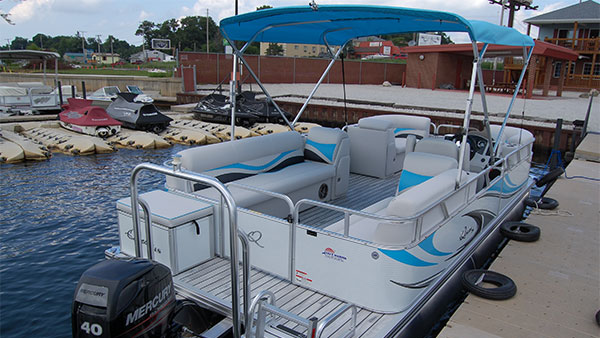 Pontoon boat ready for loading